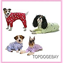 """9"""" (22cm) PYJAMA dog clothes designer luxury puppy pet clothing coat jacket t shirt apparel jumper sweater hoodie winter christmas gift warm pink blue small medium large dogs extra large big dogs (XS, BLUE)"""