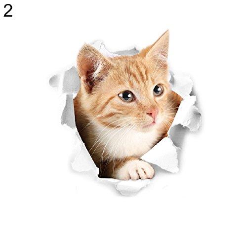 Dandeliondeme Schöne Katze gedruckt Toilettendeckel Aufkleber Wand DIY Home Cafe Shop Aufkleber Dekor 2#