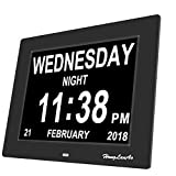 Honglanao 8 Inch Horloge numérique calendrier avec date, jour et heure | Horloge Alzheimer | Horloge pour les Seniors(noir)