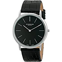 Stuhrling Original Ascot Men's Quartz Watch with l Analogue Display and Black Leather Strap
