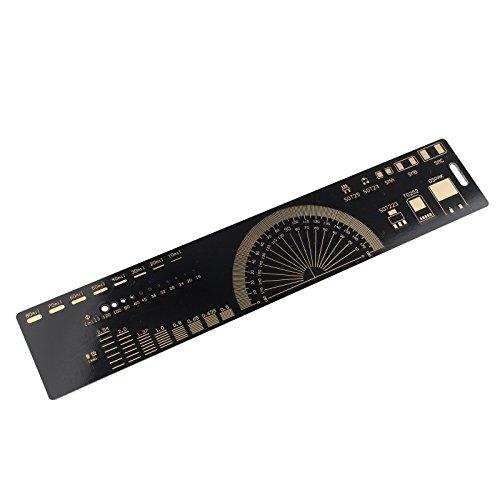 HALJIA 20 cm Multifunktionale PCB Lineal Messwerkzeug Relevante Informationen Für PCB Design Elektronische Komponente Elektronische Referenzeinheiten für Elektronische Ingenieure Geeks Makers Arduino Fans