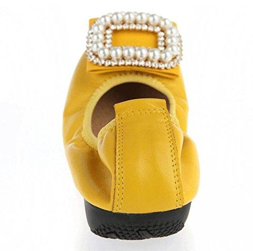 SHINIK Frauen 's New Flat - Bottomed Damen Schuhe Schuhe Shallow - Collar Diamond Flat Schuhe Falten Tanz Frauen' s Schwangere Frauen 's Ei Rolls Yellow