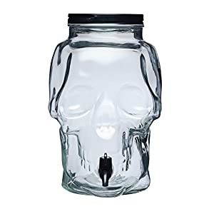 KitchenCraft Spookily Does It Novelty Skull-Shaped Glass Drinks Dispenser, 9 Litres (2 Gallons) - Transparent