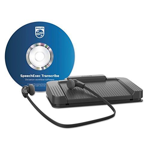 photo Philips lecture Kit, ergonomique USB Pédale acc2330, sous le menton stéréo casque lfh0334, de lecture de logiciels, reconnaissance vocale Interface, anthracite LFH7177 - Standard