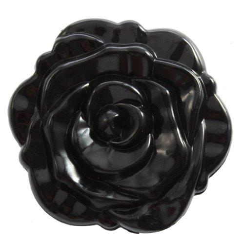 TOOGOO(R) Miroir Retro Stereoscopique de Forme Rose Noir pour les Femmes