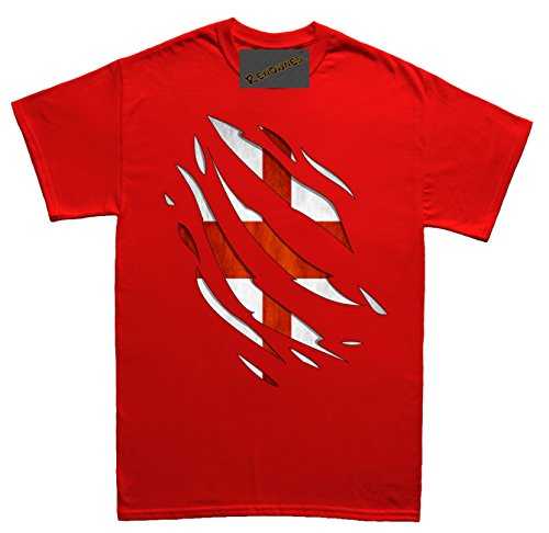 Renowned England Flag Inside Torn through ripped Unisex - Kinder T Shirt Rot