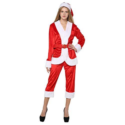 Santa Kostüm Einzigartige - Santa Claus Kostüm, Damenbekleidung, Cosplay Kostüm Marvel Party Kleid, Holiday Party Kleid Cosplay Kostüm Hosen, Hemd, Hut, Gürtel, Einheitsgrösse