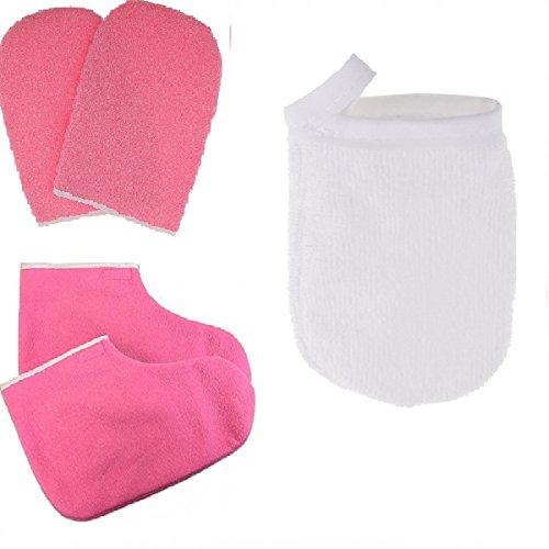 Baoblaze Protection Paraffine Cire Main Spa Masque Hydratant Gants Mitaines Chaussons + 3pcs Gant de Nettoyage Visage