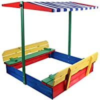 Large wooden garden 1.1m square Sandpit - Sandbox with lid & seats & shade