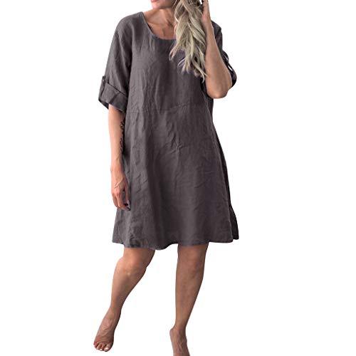 Langes Damenkleid, langes, lässiges kurzärmliges Kleid mit Rundhalsausschnitt, halblange Ärmel, lockerer Pullover, T-Shirt, Baggy, Tunika, Tops, Übergröße, Urlaub, Freizeit Gr. Medium, grau
