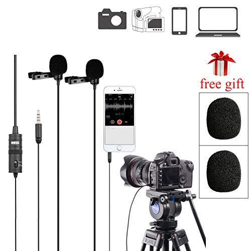 BOYA BY-M1DM Dual Lavalier-Mikrofone, omnidirektionales Kondensator, Freisprechmikrofon mit einem 1/8 Zoll Stereoanschluss für Kamera, DSLR, iPhone, Android, Samsung, Huawei, Sony, PC, Laptop (Samsung-kamera Mikrofon Für)