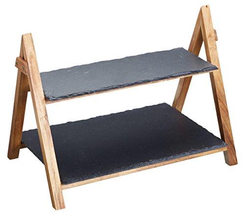 Master Class Artesa Présentoir de service à 2 étages en ardoise et bois d'acacia 40 x 30 x 25 cm
