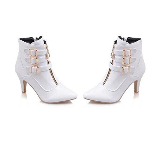 ZQ@QX Suggerimento della settimana per il sottile ed elegante della fibbia della cintura di sicurezza anteriore con cerniera laterale stivali, a tacco alto scarpe white