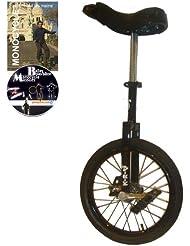 Monocycle Dodo 16 pouces (40cm) NOIR pour les enfants à partir de 7 ans + DVD offert