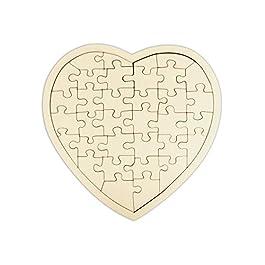Kopierladen Puzzle di Legno Cuore Personalizzabile, Puzzle Vuoto di Legno Compensato a Forma di Cuore, 34 Pezzi, Dimensioni ca. 20 x 20 cm