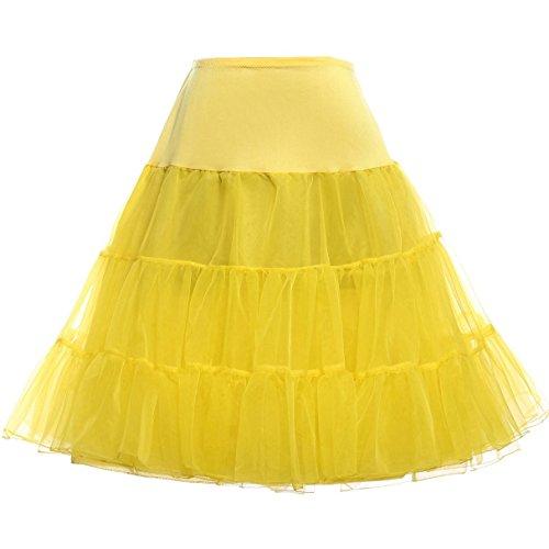 petticoat unterrock rockabilly rock damen knielang reifrock brautkleid gelb XL,C1,Gelb