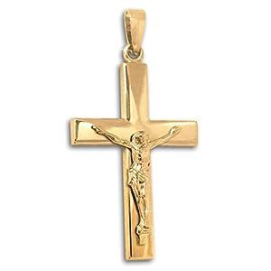 Clever Schmuck Goldener sehr großes Jesuskreuz 41 mm breite Balken, gerade schlichte Form glänzend 375 GOLD 9 KARAT für Herren