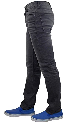 Neue Männer Crosshatch Slim Fit Stretch-Denim fünf Pocket Jeans Stone Wash Grey
