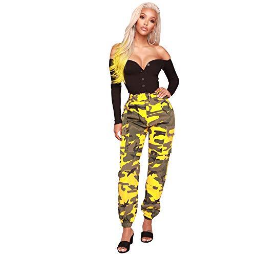 Multi-tasche Reißverschluss (piannao Damen Sport Camouflage Hose Gürtel Laufhose Bunt Sporthose Seiten Taschen Reißverschluss Multi-Pocket Jogger Pants Trainingshose)