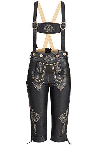 Damen Trachten Kniebund Lederhose aus feinem Rindsleder mit Hosenträger und mit Stickerei, Schwarz,Gr.38