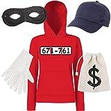 Shirt-Panda Damen T-Shirt Panzerknacker Kostüm + Cap + Maske + Handschuhe Verkleidung Karneval SET06 Hoodie/Cap/Maske/Handschuhe/Beutel XL