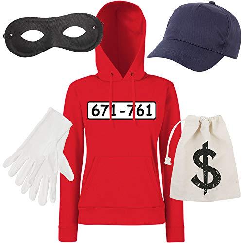 Shirt-Panda Damen Hoodie Panzerknacker Kostüm + Cap + Maske + Handschuhe Verkleidung Karneval SET06 Hoodie/Cap/Maske/Handschuhe/Beutel ()