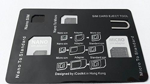 Kreditkarte Größe SIM-Kartenhalter Fall-inkl. 3SIM Card Adapter und iPhone Pin Werkzeug