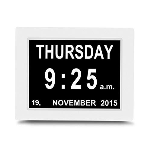 TangMengYun 8-Zoll-elektronischer Wecker Großer Bildschirm Erinnerungsuhr Mehrsprachige Kalenderuhr Bedienung Einfach (Color : White)