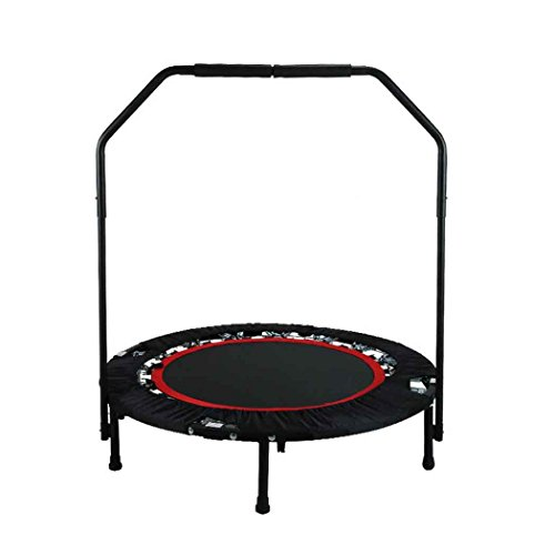 Busyall mini trampolino elastico pieghevole inclinabile - dia 102cm - per adulti e bambini unisex da giardino fitness casa professionale con maniglia di supporto, peso massimo 135kg, eu stock