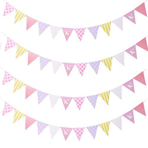 Anladia 4 pcs Geburtstag Party Girlande Wimpelkette Wimpeln Zimmerdeko Mehrfarbig 2