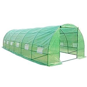 Serra per piante, con tetto arrotondato, di dimensioni 800 x 300 x 200 cm, colore verde