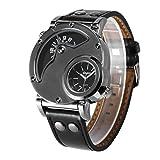 Relojes de Lujo para Hombres Reloj de Pulsera de Cuero de la Zona horaria Doble Oulm HP9591B Reloj de Pulsera de Viaje Masculino de Aluminio para Relojes de Cuarzo HP9591B