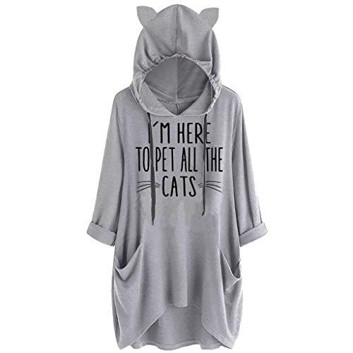 GOKOMO Hooded Sweatshirt T-Shirt Hoodie Damen Oversize Trend GroßE GrößEn Frauen Drucken Katzenohr Mit Langen äRmeln Tasche Top Bluse LäSsig(Grau-c,XXXX-Large)