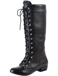 AIYOUMEI Damen Lace Up Kniehohe Stiefel mit 3cm Absatz und Reißverschluss  Freizeit Martin Stiefel 772875c26b