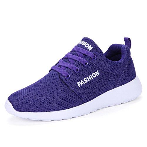 Men's Mesh Breathable Black Pink Running Shoes purple