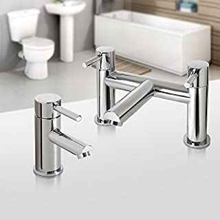 iBathUK Chrome Basin Sink Mixer Tap with Bath Filler Tap Set TP3015