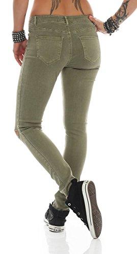 Fashion4Young - Jeans - Femme bleu Schwarz XS=36 Kaki