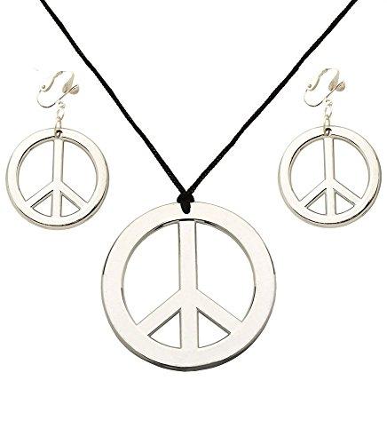 Peace Schmuckset Silber zum Hippie Kostüm