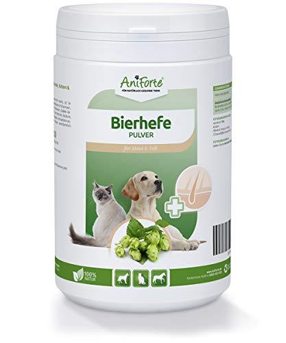 AniForte Reine Bierhefe Pulver 500g, Naturprodukt für Hunde, Katzen und Pferde, Glänzendes und kräftiges Fell, Vitale Haut, Reich an B-Vitaminen, Mineralien, Spurenelementen