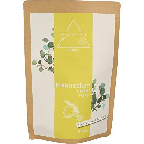 ingenious nature® Laborgeprüftes Magnesiumcitrat Pulver 1kg - Magnesium-Pulver ohne Zusätze, vegan