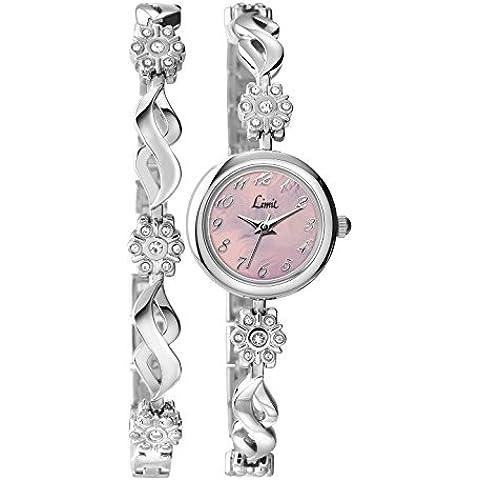 Limit - Reloj para mujer de cuarzo con esfera analógica rosa y pulsera de plata