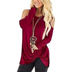 YOINS Pull Long Femme T-Shirt Sport Casual Top Décontracté Chemise Femme Manche Longue Grand Taille Épaule-Rouge 34 EU(XS)