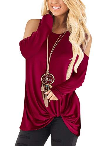 YOINS Pull Long Femme T-Shirt Sport Casual Top Décontracté Chemise Femme Manche Longue Grand Taille Épaule-Rouge XS