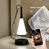 AIMENGTE Lámpara LED inalámbrica para tocar en la cabecera de la música con altavoz Bluetooth, lámpara de mesa regulable de moda Lámpara de noche para el dormitorio, baño, guardería, comedor y lectura