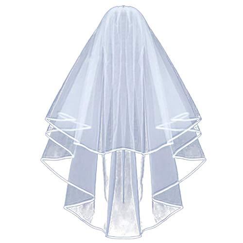 Dorical Brautschleier Hochzeitskleid 80 cm lang mit Satinkante/Tüll Brautschleier Satinkante mit...