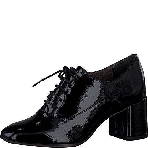 Tamaris Damenschuhe 1-1-23325-37 Damen Schnürpumps, Pumps, Schnürschuhe schwarz (BLACK PATENT), EU 37