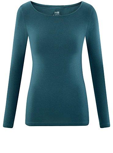 oodji Collection Damen Langarmshirt Blau (6C00N)