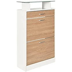 ts-ideen Zapatero pasillo madera cajones estante de vidrio blanco con puertas con apariencia de roble 104 x 60 Cm