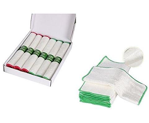 Kissria Nettoyage Serviettes, double épaisseur en fibre de bambou de cuisine Anti-greasy Chiffon de nettoyage de Peilles Fibre de Bambou Plat, Green, 10*10INCH