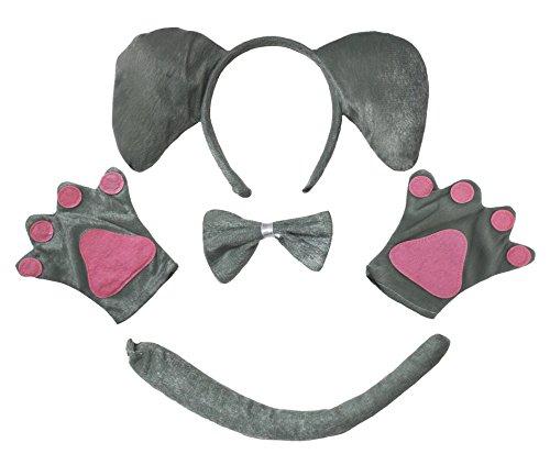 Kinder Elefanten Kostüm - Petitebelle Elefant Stirnband Bowtie Schwanz Glove 4pc Partei-Kostüm Kinder Kinder One Size Grau